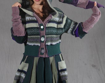 Purple and green sweater coat with liripipe hoodie. Made from recycled sweaters, this coat is gypsy pixie style