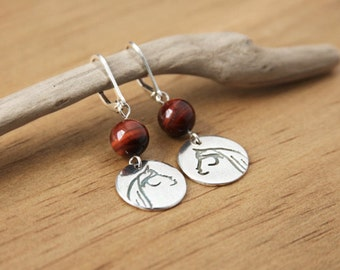 Silver Horse Earrings Red Tigereye Natural Stone Handmade Recycled Silver Stylized Whimsical Horse Jewelry Argentium Leverback