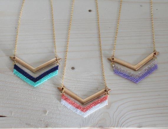 Short necklace, pearls, Miyuki mini beads, gold plated chain