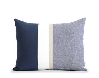 Navy Chambray Pillow Cover with Metallic Gold Stripe (16x20) - Modern Home Decor by JillianReneDecor - Colorblock - Nautical Pillow