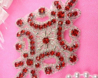 """JB115 Red Applique Crystal Rhinestone Silver Beaded 4"""" (JB115-rdsl)"""