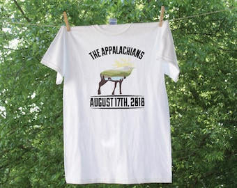 Appalachian Mountains Green Hills Moose Silhouette Tee with Wedding Date - GC