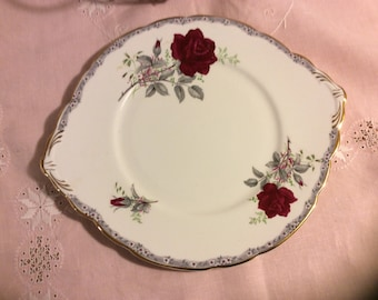 Vintage Royal Stafford Roses to Remember Cake Plate