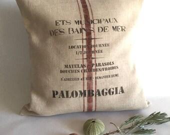 Housse de coussin en lin lavé, impression vintage originale Plage corse, Palombaggia.