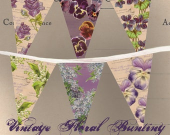 Vintage Floral Bunting - Printable - Instant Download - DIY Party Decoration