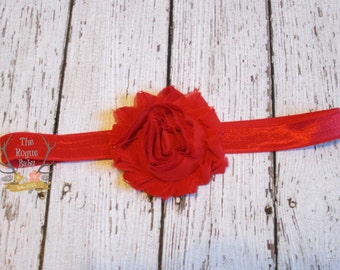 Red Baby Headband - Satin Elastic with Shabby Chiffon Rosette - Newborn Baby Infant- Photo Prop