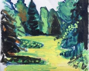 Graue Sommer, Juli 2017, ORIGINAL kleine Landschaftsmalerei von Shirley Kanyon, Ölfarben auf Schwerpapier, 20x21.5 cm, 7.9x8.5 Zoll