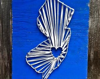 State String Art, String Art State, String Art Sign, Custom Sign, Rustic Sign, Custom String Art, New Jersey Sign, NJ Sign, New Jersey Art