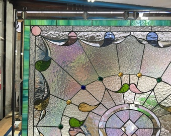 """Wow!!! Classic """"Teardrop & Jewels"""" Stained Glass Window Panel  (We do custom work, email for a quick quote)"""