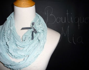 PERFECT GIFT - Infinity SCARF - Ruffle with Velvet Bow - Light Blue - by Boutique Mia