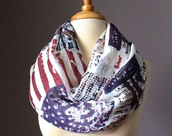 American Flag scarf, Lightweight Women Patriotic infinity spring scarf Independence day scarf, Navy Red White Vintage print scarf