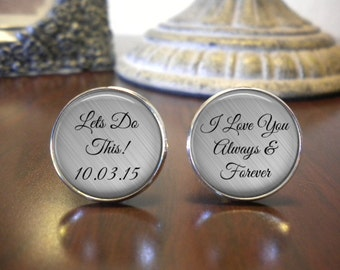 SALE! Groom Cufflinks - Personalized Cufflinks - Wedding Cufflinks - Gift for Groom - Let's do this- Cyber Monday