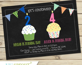 Sibling Double Birthday Party Invitation- Cupcake and Chalkboard