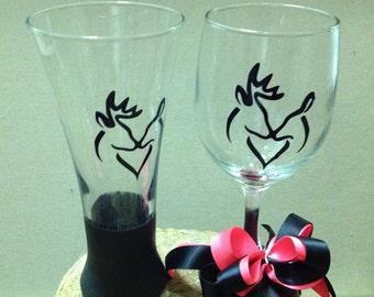 Doe and Buck Glasses-Wedding Glasses-BarWare Glasses-Vinyl Glasses