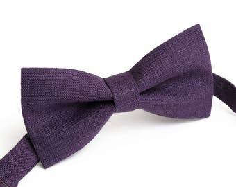 Purple color,  linen bow tie, wedding necktie, linen necktie,  groomsmen necktie,  neckt, bow tie for men