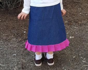 Denim skirt with pleated ruffle