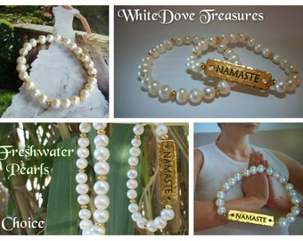 FRESHWATER PEARL BRACELET ~ Namaste Engraved Gold Plate & Gold Beads ~ Beach Wedding Elegant Stacker Bracelet ~ Gift Box