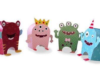 Paper Toy Monsters - Set of 4 Play Set - PDF - Digital Download