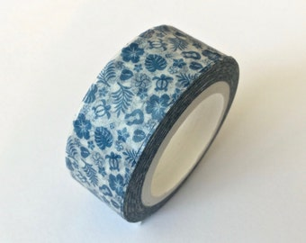"CLEARANCE  Washi Tape Print 'Hawaiian Style"" in Blue by 'MechaKucha808'  15mm x 10 Meters"
