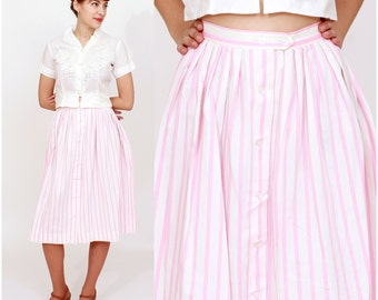 Vintage 50s Pink and White Candy Stripe Button Down Full Skirt | Small