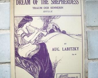 Vintage Sheet Music 'Dream of the Shepherdess' by Aug. Labitzky, purple ink (rare) 1907
