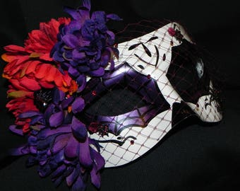 Purple, Orange, Red and White Day of the Dead Mask - Halloween Mask -  READY TO SHIP
