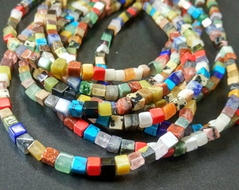 Natural Multi color Assorted Rainbow stone Cube Beads 4x4x4mm- approx 90pcs/Strand