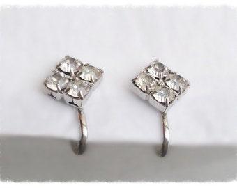 Petite Square Silver and Rhinestone Screwback Earrings