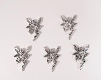 Elf fairy, fairy charms silver pendant 21 mm Q02 10 charms