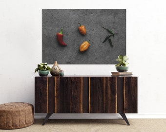 peppers v. one // food photography print // canvas print // kitchen wall art // dining room wall art // rustic wall art // chili peppers