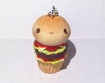 Burger Cupcake - Polymer Clay Charm