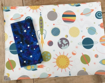 Placemat and Napkin Set for Kids  - Solar System Set