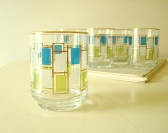 Libbey Nordic juice glasses, set of 6 mid-century modern small tumblers in aqua, lime green and white with 24 kt gold accents, stained glass