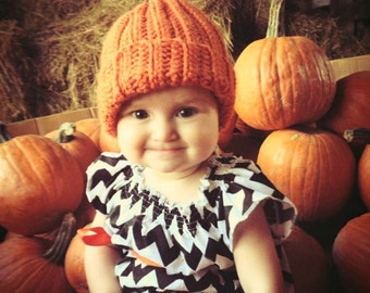 Crocheted pumpkin hat-ribbed-with vine
