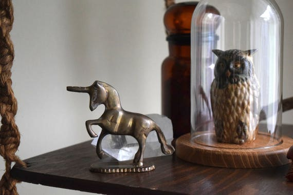 Small Vintage Brass Unicorn Statue - Woodland, Mid Century, Boho, Fairytale