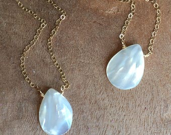 Pearl Necklace - Real Pearl Necklace -White Pearl Necklace - Pearl Jewelry - June Birthstone - Mother Of Pearl