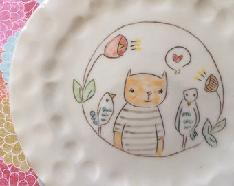 Cat and birds lunch plate