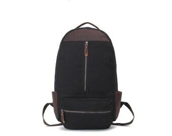 Vintage Style Leather Canvas Backpack  (Black)