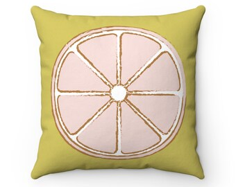 Pink Lemon Pillow Cover | Olive Pillow | Pink Pillow | Spring Decor | Throw Pillow Cover | Decorative Pillow