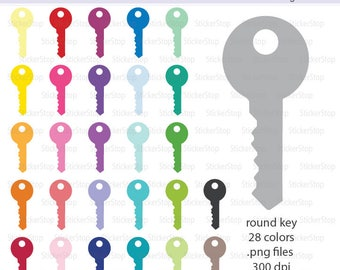 Round Key Icon Digital Clipart in Rainbow Colors - Instant download PNG files - car key, house key, lock, door key
