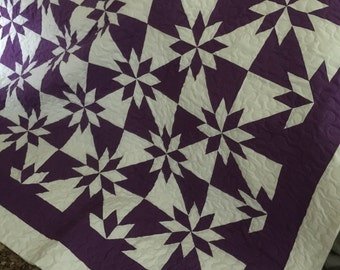 SALE Quilt Star Flower Purple and White Traditional Queen Ready to Ship