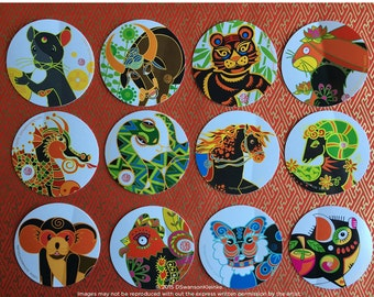 Chinese Zodiac Stickers, 2 inch Round Vinyl Animal Stickers, Labels