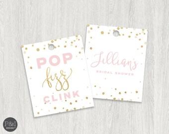 Favor Tags | Pop Fizz Clink | Bridal Shower Favor Tags | Gold and Blush | 2.5x3 | Digital File