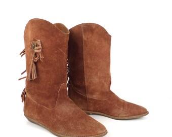 Suede Fringe Boots Vintage 1980s Carmel Brown Cowboy Women's size