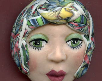 Polymer Clay One of a Kind   Detailed  Art Doll Face with hat Cab FAB 7