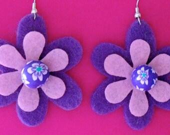 Groovy Grape Funky Felt Flowers Earrings