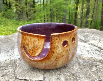 Nutmeg and deep Purple Ceramic Yarn Bowl