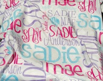 Personalized Baby Blanket - Monogrammed Baby Blanket - Swaddle - Photo Prop - Receiving Blanket - Newborn - Baby Gift - Nursing Blanket