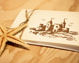 Blank Cards Sandcastle Set of 5 Folded Simple Beach Cottage hand stamped teacher gift