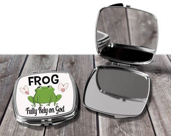 Fully Rely on God Frog Compact Mirror/pocketbook mirror/bachelorette gifts/mothers day gifts/wedding favors/mirrors